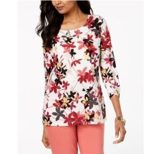 JM Collection  3/4 Sleeves Flower Blouse White Top